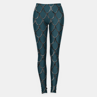 Thumbnail image of Teal Mermaid Scales Glam #1 #shiny #decor #art  Leggings, Live Heroes