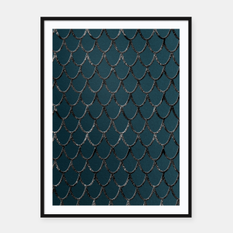 Thumbnail image of Teal Mermaid Scales Glam #1 #shiny #decor #art  Plakat mit rahmen, Live Heroes