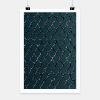 Thumbnail image of Teal Mermaid Scales Glam #1 #shiny #decor #art  Plakat, Live Heroes