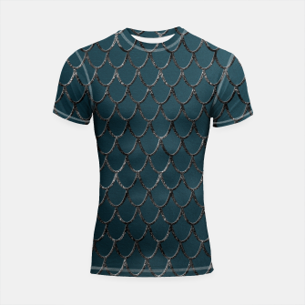 Thumbnail image of Teal Mermaid Scales Glam #1 #shiny #decor #art  Shortsleeve rashguard, Live Heroes