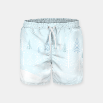 Miniature de image de Frosty forest winter morning Swim Shorts, Live Heroes