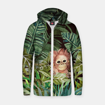 Thumbnail image of Little monkey in the jungle Sudadera con capucha y cremallera , Live Heroes