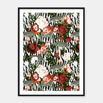 Thumbnail image of Zebras among roses Cartel con marco, Live Heroes