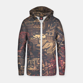 Thumbnail image of City scape Zip up hoodie, Live Heroes