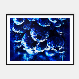 Miniaturka gxp blueberry blue berries pattern splatter watercolor  Framed poster, Live Heroes
