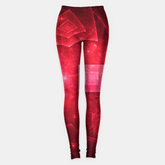 Thumbnail image of Red Square Universe Abstract Fractal Art Design Leggings, Live Heroes