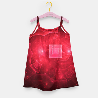 Thumbnail image of Red Square Universe Abstract Fractal Art Design Girl's dress, Live Heroes
