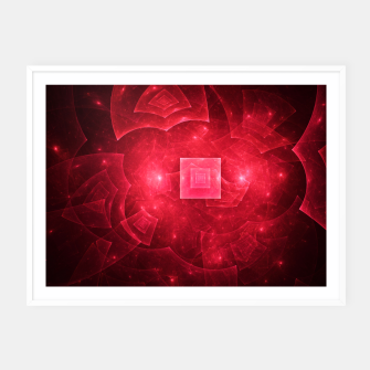 Thumbnail image of Red Square Universe Abstract Fractal Art Design Framed poster, Live Heroes