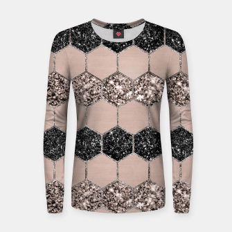 Thumbnail image of Blush Hexagon Glitter Glam #1 #geometric #decor #art Frauen sweatshirt, Live Heroes