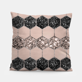Thumbnail image of Blush Hexagon Glitter Glam #1 #geometric #decor #art Kissen, Live Heroes