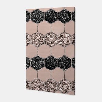 Thumbnail image of Blush Hexagon Glitter Glam #1 #geometric #decor #art Canvas, Live Heroes