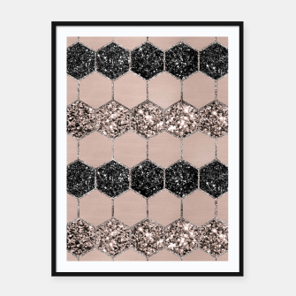 Thumbnail image of Blush Hexagon Glitter Glam #1 #geometric #decor #art Plakat mit rahmen, Live Heroes
