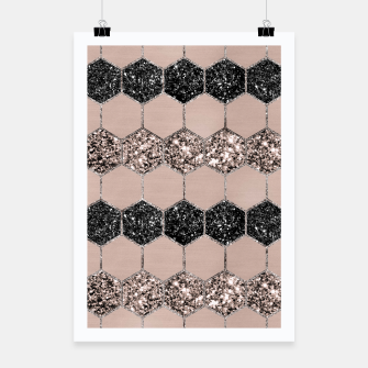 Thumbnail image of Blush Hexagon Glitter Glam #1 #geometric #decor #art Plakat, Live Heroes