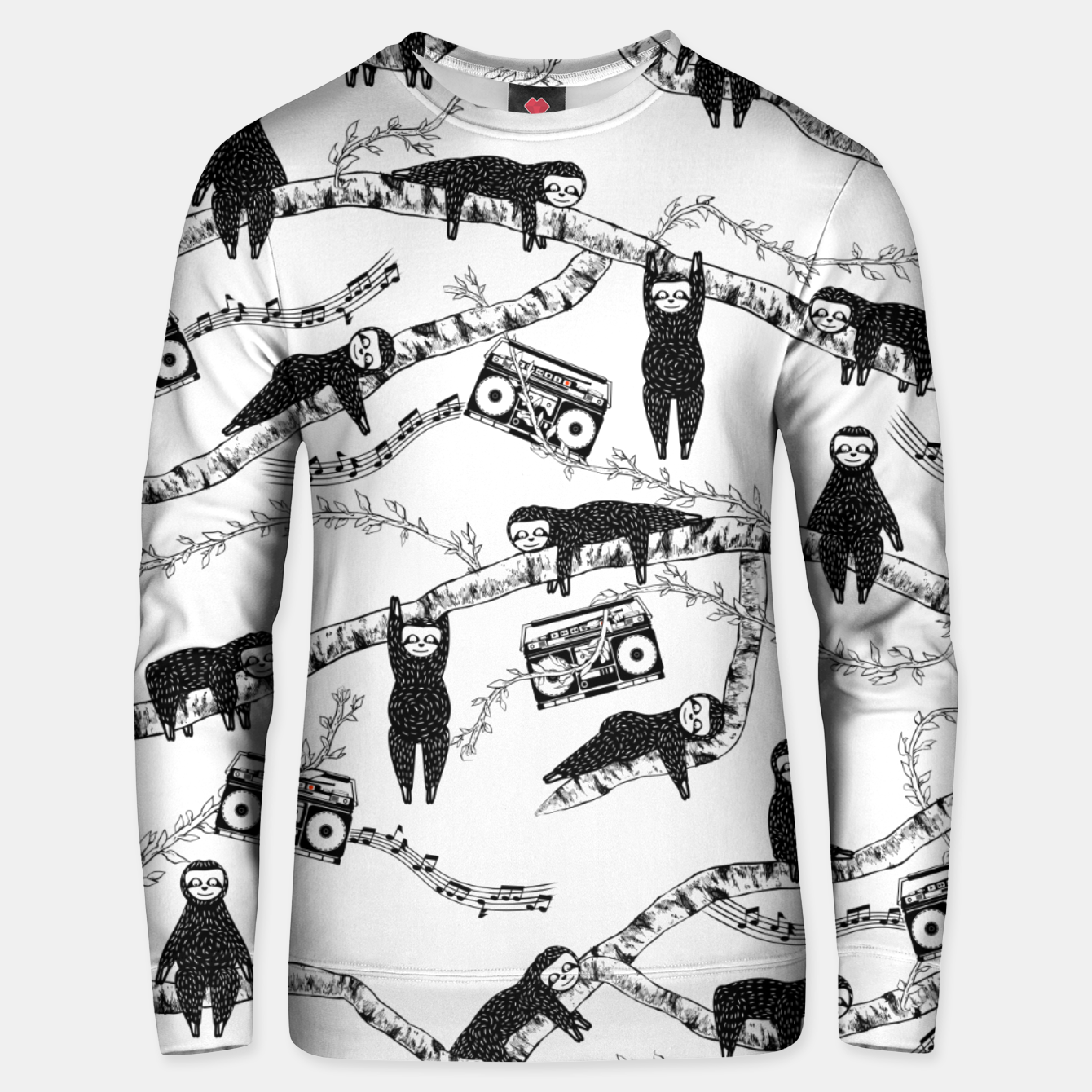 Image of 80'S Music Sloth Pattern Unisex sweater - Live Heroes