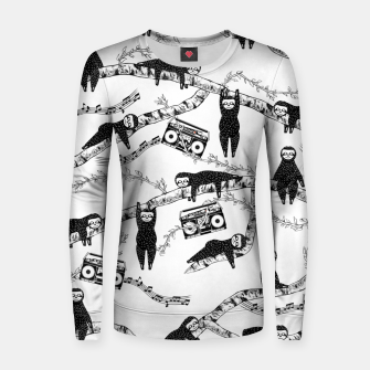 80'S Music Sloth Pattern Women sweater imagen en miniatura