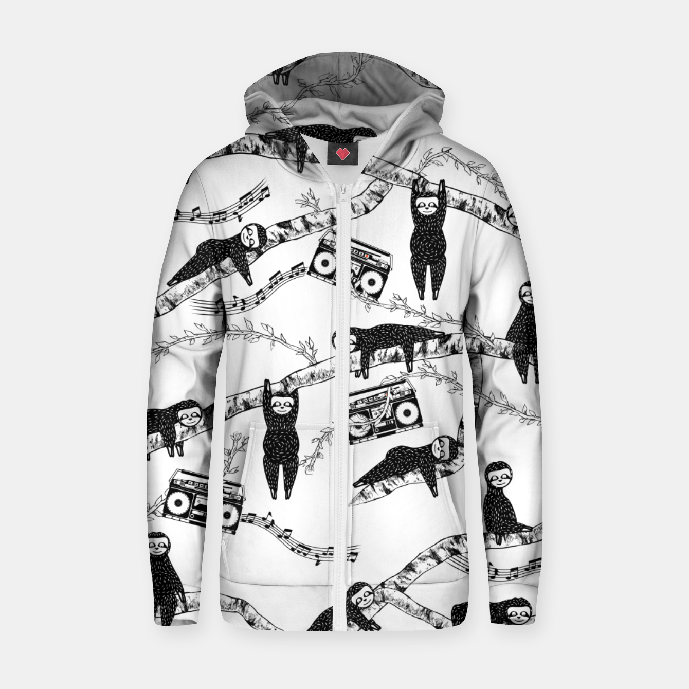 Imagen de 80'S Music Sloth Pattern Zip up hoodie - Live Heroes