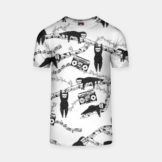 80'S Music Sloth Pattern T-shirt Bild der Miniatur