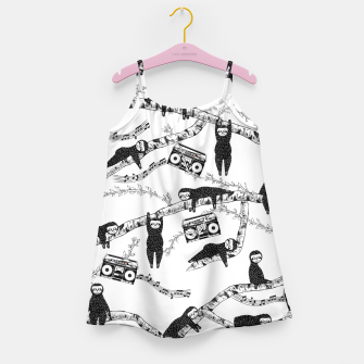 80'S Music Sloth Pattern Girl's dress Bild der Miniatur