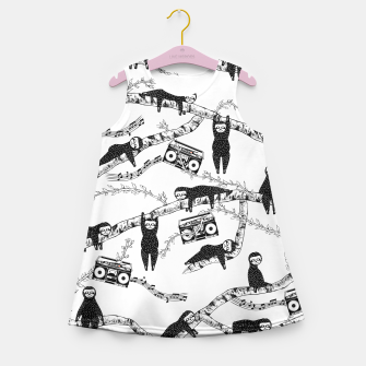 80'S Music Sloth Pattern Girl's summer dress imagen en miniatura