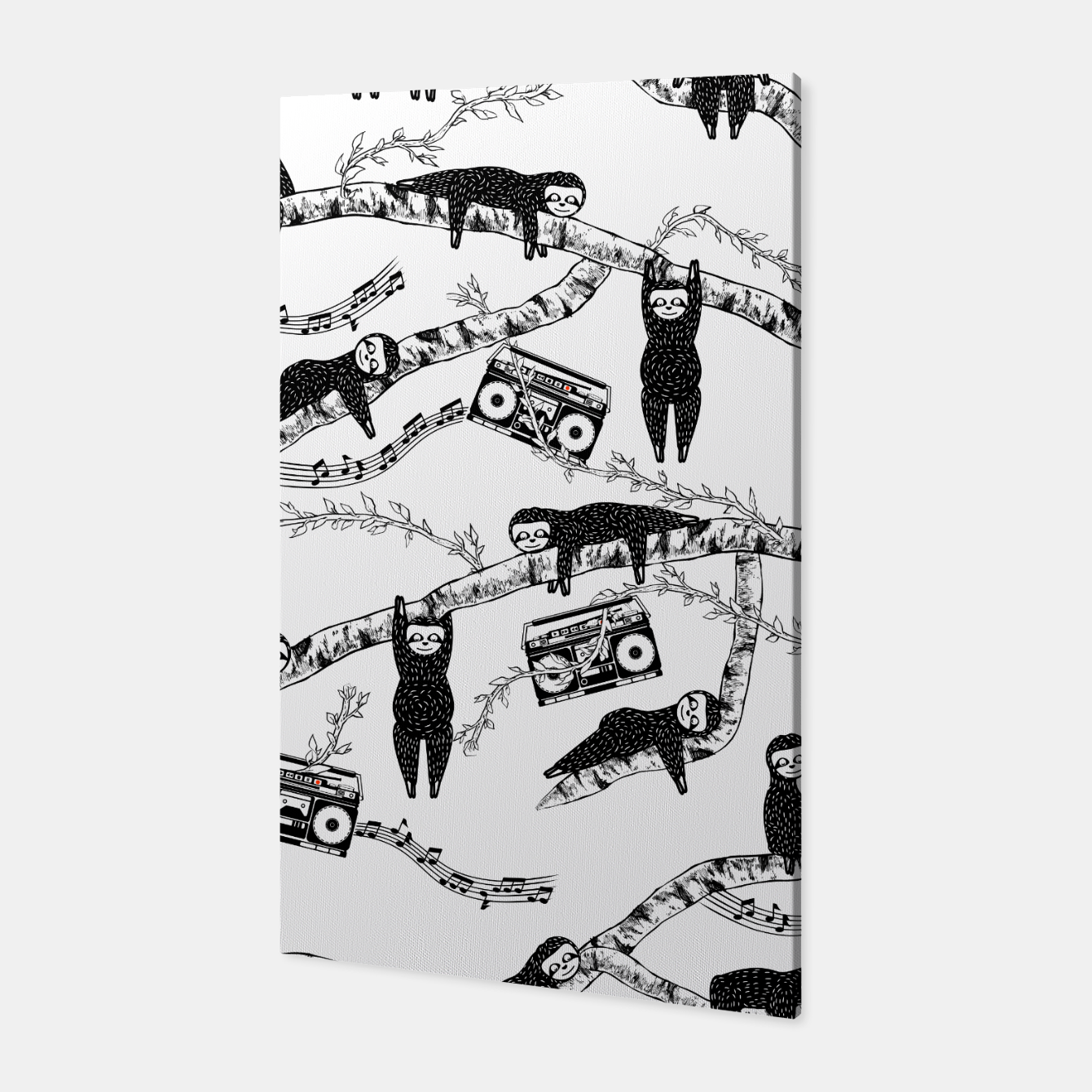 Foto 80'S Music Sloth Pattern Canvas - Live Heroes