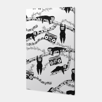 80'S Music Sloth Pattern Canvas imagen en miniatura