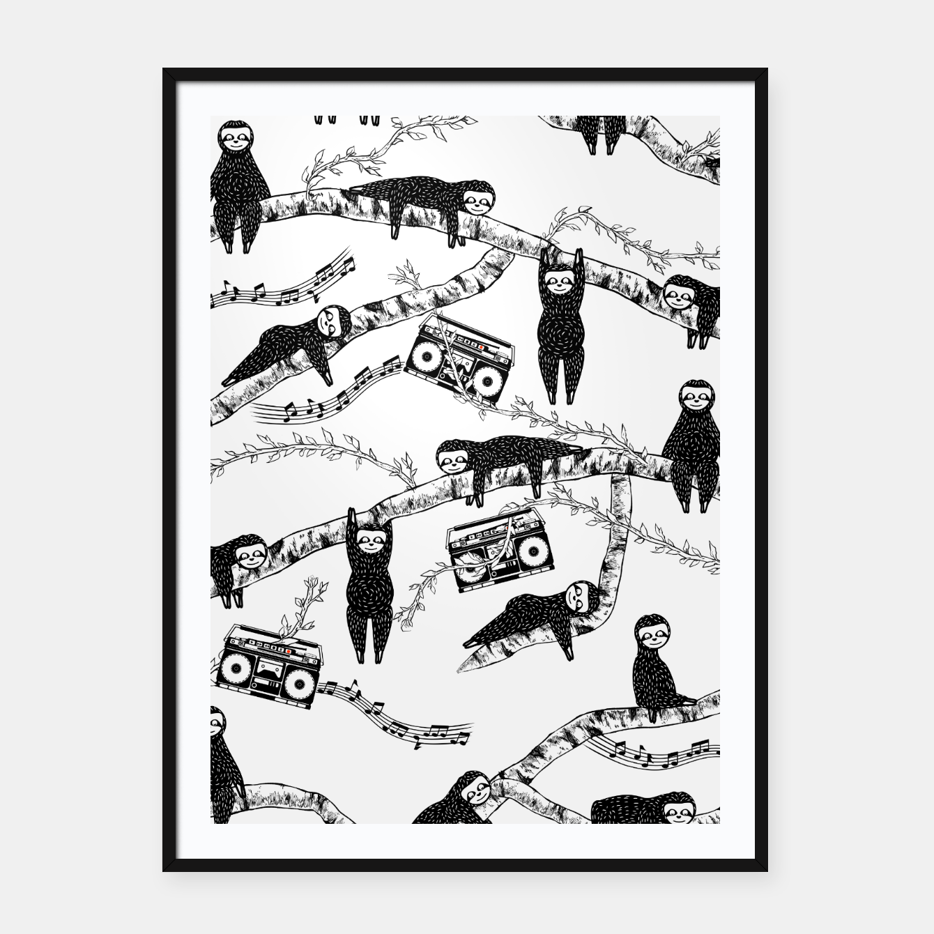 Foto 80'S Music Sloth Pattern Framed poster - Live Heroes