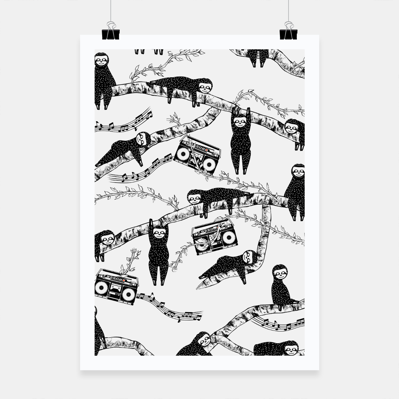 Foto 80'S Music Sloth Pattern Poster - Live Heroes