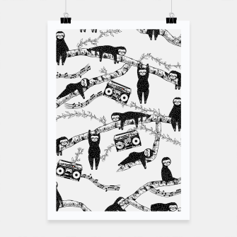 80'S Music Sloth Pattern Poster miniature