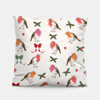 Thumbnail image of Robin Birds Christmas Pattern Pillow, Live Heroes