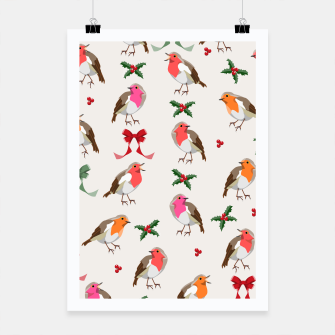 Thumbnail image of Robin Birds Christmas Pattern Poster, Live Heroes