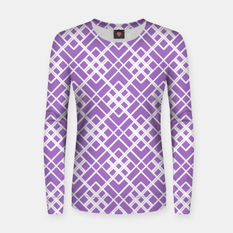 Thumbnail image of Abstract geometric pattern - purple and white. Women sweater, Live Heroes