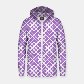Thumbnail image of Abstract geometric pattern - purple and white. Zip up hoodie, Live Heroes