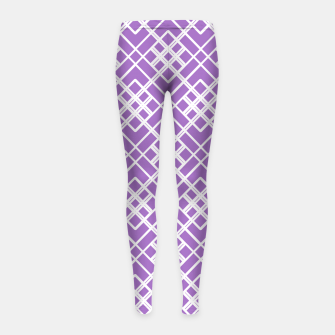 Thumbnail image of Abstract geometric pattern - purple and white. Girl's leggings, Live Heroes