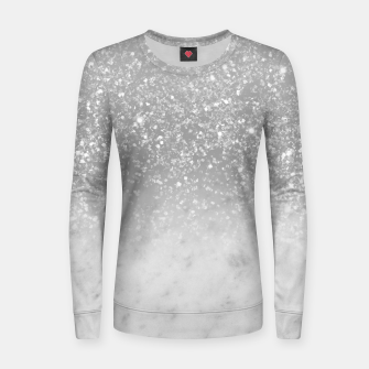 Thumbnail image of White Marble Silver Ombre Glitter Glam #1 #shiny #gem #decor #art  Frauen sweatshirt, Live Heroes