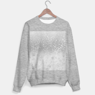 Thumbnail image of White Marble Silver Ombre Glitter Glam #1 #shiny #gem #decor #art  Sweatshirt regulär, Live Heroes