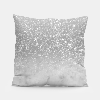 Thumbnail image of White Marble Silver Ombre Glitter Glam #1 #shiny #gem #decor #art  Kissen, Live Heroes