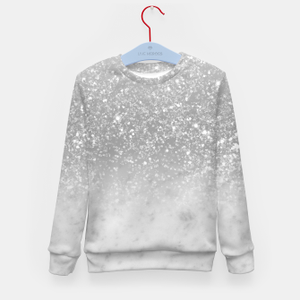 Thumbnail image of White Marble Silver Ombre Glitter Glam #1 #shiny #gem #decor #art  Kindersweatshirt, Live Heroes