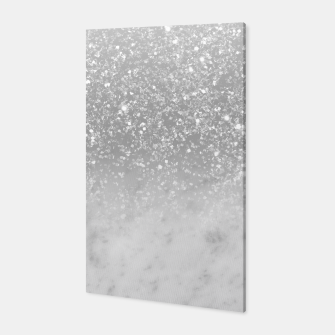Thumbnail image of White Marble Silver Ombre Glitter Glam #1 #shiny #gem #decor #art  Canvas, Live Heroes