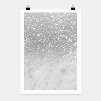 Thumbnail image of White Marble Silver Ombre Glitter Glam #1 #shiny #gem #decor #art  Plakat, Live Heroes
