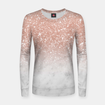 Thumbnail image of White Marble Rose Gold Ombre Glitter Glam #1 #shiny #gem #decor #art  Frauen sweatshirt, Live Heroes