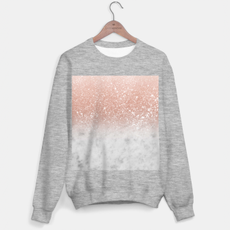 Thumbnail image of White Marble Rose Gold Ombre Glitter Glam #1 #shiny #gem #decor #art  Sweatshirt regulär, Live Heroes