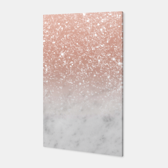 Thumbnail image of White Marble Rose Gold Ombre Glitter Glam #1 #shiny #gem #decor #art  Canvas, Live Heroes