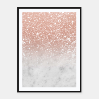 Thumbnail image of White Marble Rose Gold Ombre Glitter Glam #1 #shiny #gem #decor #art  Plakat mit rahmen, Live Heroes