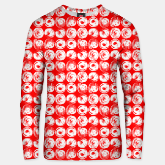 Miniatur Round brush strokes on red Unisex sweater, Live Heroes