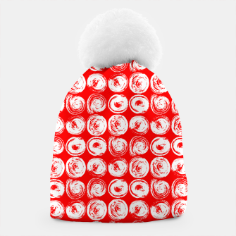 Miniatur Round brush strokes on red Beanie, Live Heroes