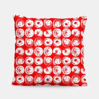 Miniatur Round brush strokes on red Pillow, Live Heroes