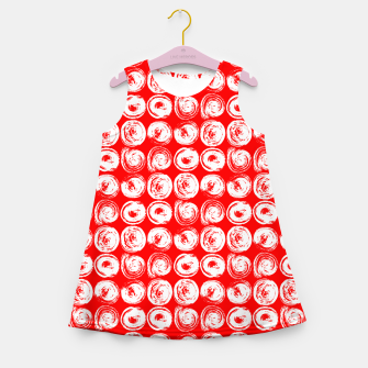 Miniatur Round brush strokes on red Girl's summer dress, Live Heroes