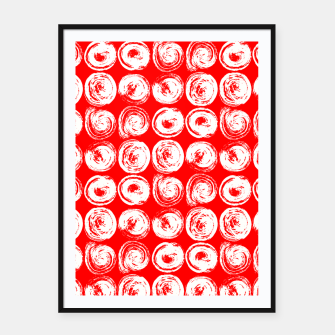 Miniatur Round brush strokes on red Framed poster, Live Heroes