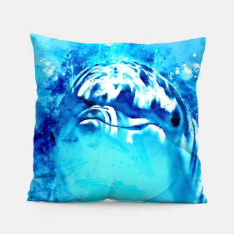 Thumbnail image of gxp dolphin splatter watercolor Pillow, Live Heroes