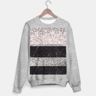 Thumbnail image of Gray Black Marble Glitter Stripes Glam #1 #shiny #decor #art Sweatshirt regulär, Live Heroes